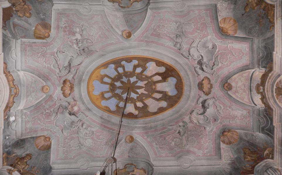 Soffitto A Volta Affrescato : Soffitto salone rosso del castello